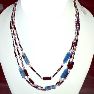 WHBM Triple Layer Semi-Precious Stone Necklace